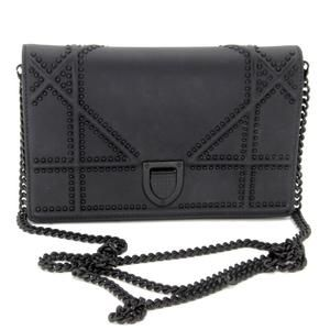 Studded Small Diorama Chain Shoulder Black